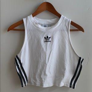 Adidas White Crop Tank